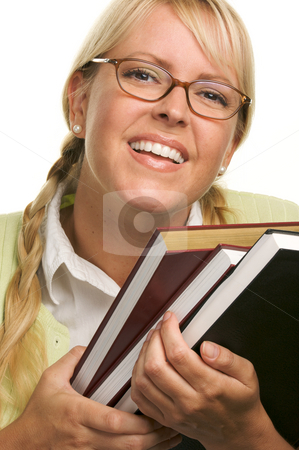 Attractive Student Carrying Her Books stock photo, Attractive Student Carrying Her Books Isolated on a White Background. by Andy Dean