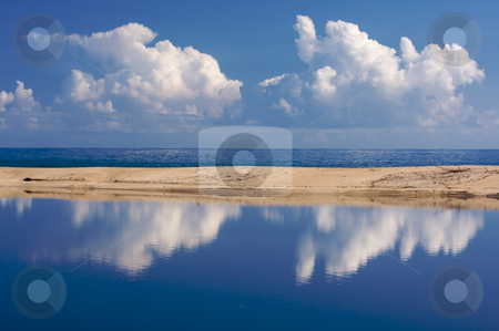 Tropical Shoreline with Clouds stock photo, Tropical Shoreline with Clouds on Kauai, Hawaii by Andy Dean