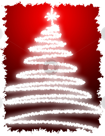 Artistic Christmas Tree stock photo, Artistic Christmas Tree with Red Background Gradation by Andy Dean