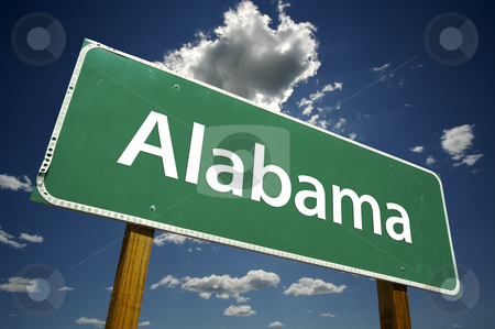 Alabama Road Sign stock photo, Alabama Road Sign with dramatic clouds and sky. by Andy Dean