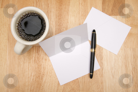 Note Card & Coffee stock photo, Note Card & Envelope with room for your own text and coffee. by Andy Dean