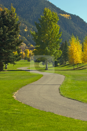 Aspen Golf Course with Pines stock photo, Aspen Golf Course as the Aspen Pines Change Color by Andy Dean