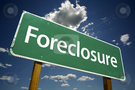 Foreclosure Road Sign stock photo, Foreclosure Road Sign with dramatic clouds and sky. by Andy Dean