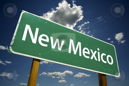 New Mexico Road Sign stock photo, New Mexico Road Sign with dramatic clouds and sky. by Andy Dean