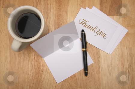 Thank You Note & Coffee stock photo, Thank You Note Card with room for your own text,, Pen and Coffee Cup on Wood Background by Andy Dean