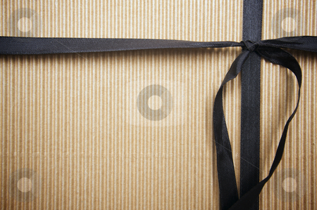 Corrugated Gift Box stock photo, Corrugated Gift Box with Black Satin Ribbon by Andy Dean