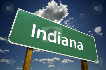 Indiana Road Sign stock photo, Indiana Road Sign with dramatic clouds and sky. by Andy Dean