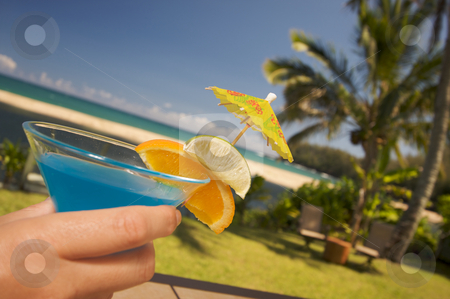 Tropical Drinks stock photo, Woman with Tropical Drinks on Lanai by Andy Dean