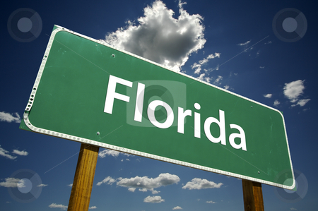 Florida Road Sign stock photo, Florida Road Sign with dramatic clouds and sky. by Andy Dean