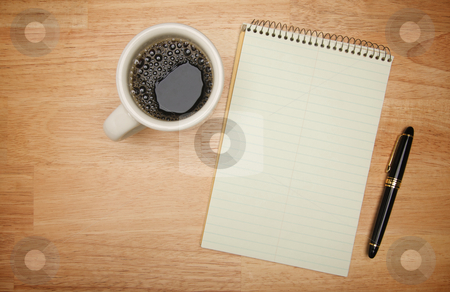Blank Pad of Paper, Pen & Coffee stock photo, Blank Pad of Paper ready for your own text, Pen & Coffee by Andy Dean