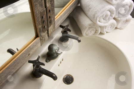 Rustic Bathroom Scene stock photo, Rustic Bathroom Sink and Mirror by Andy Dean