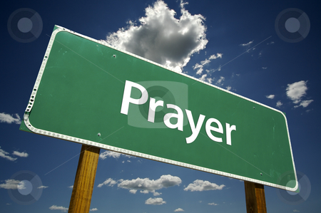 Prayer Road Sign stock photo, Prayer Road Sign with dramatic clouds and sky. by Andy Dean