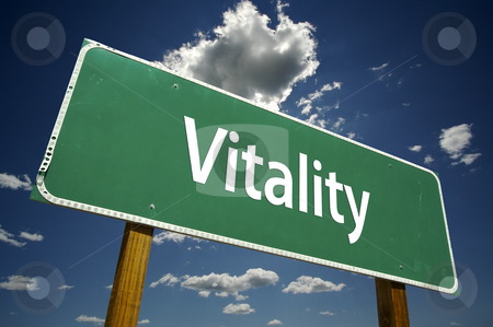 Vitality Road Sign stock photo, Vitality Road Sign with dramatic clouds and sky. by Andy Dean