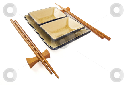 Abstract Chopsticks and Bowls stock photo, Abstract Chopsticks and Bowls Isolated on a White Background. by Andy Dean