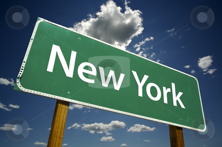 New York Road Sign stock photo, New York Road Sign with dramatic clouds and sky. by Andy Dean