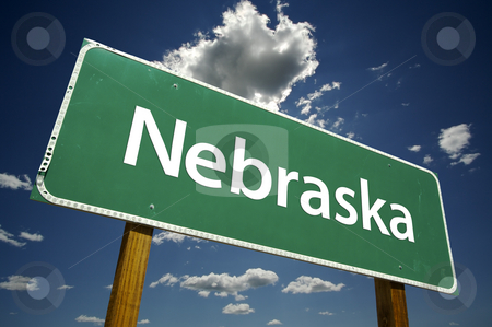 Nebraska Road Sign stock photo, Nebraska Road Sign with dramatic clouds and sky. by Andy Dean