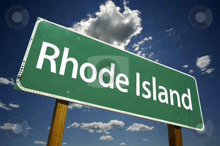 Rhode Island Road Sign stock photo, Rhode Island Road Sign with dramatic clouds and sky. by Andy Dean