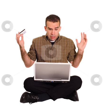 Online Shopping stock photo, A man throwing his arms up after his experience with online shopping by Richard Nelson