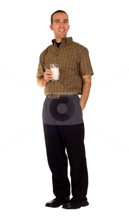 Man Drinking Milk stock photo, Full body view of a man drinking a glass of milk, isolated against a white background by Richard Nelson