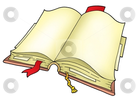 Open book stock photo, Open book on white background - color illustration. by Klara Viskova