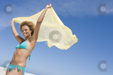 Young woman wearing bikini stock photo, Young woman wearing bikini against blue sky by Monkey Business Images