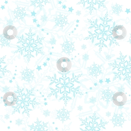 Seamless snowflakes, winter wallpaper stock vector clipart, Light blue snowflakes, winter pattern that will tile seamlessly. by Ina Wendrock