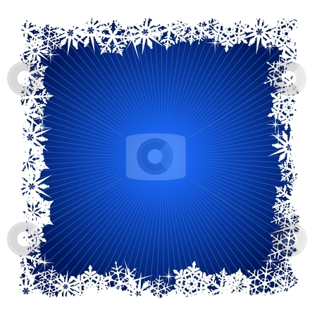 Square blue snowflake background stock vector clipart, Grungy Christmas, winter snowflake background in blue and white. Use of global colors, blends. Snowflakes single objects. by Ina Wendrock