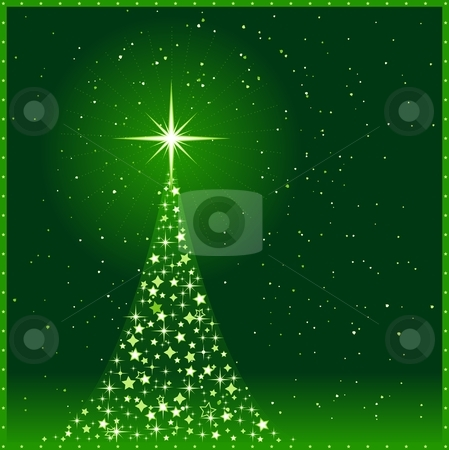 Square green Christmas background With Christmas tree stock vector clipart, Square green christmas card showing a Christmas tree made of shiny stars with a glowing tree top star and snowfall. Use of global colors and blends. by Ina Wendrock