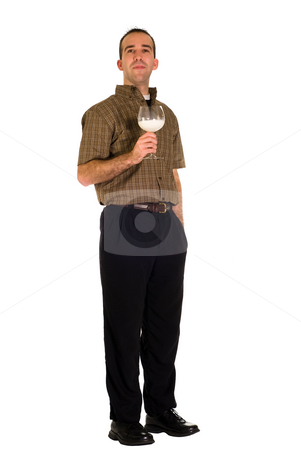 Full Body Man With Milk stock photo, A full body view of a man holding a glass of milk by Richard Nelson