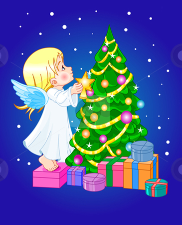 Chrismas cute angel stock vector clipart, Angel putting star on Christmas tree by Anna Vtlichkovsky