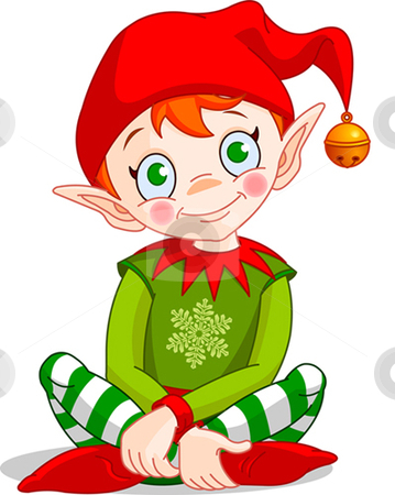 Christmas_elf stock vector clipart, Christmas Elf sitting - Vector. by Anna Vtlichkovsky
