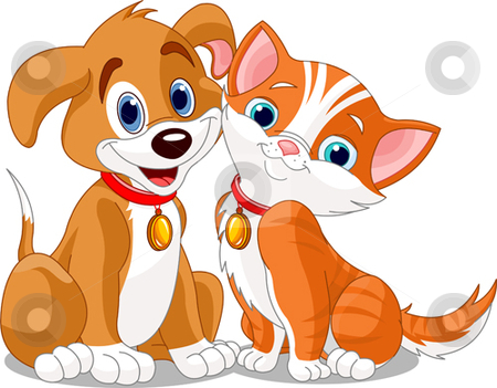 Cat_n_dog stock vector clipart, Dog & cat's friendship by Anna Vtlichkovsky