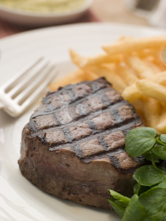 Fillet Steak Frite and Watercress stock photo,  by Monkey Business Images