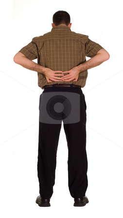 Back Pain stock photo, Full body view of a man suddering from back pain, isolated against a white background by Richard Nelson