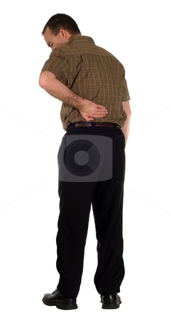 Sore Back stock photo, Full body view of a man with a sore back, isolated against a white background by Richard Nelson