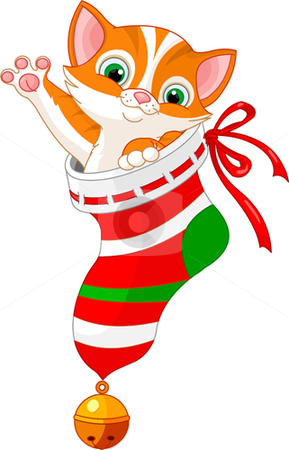 Christmas cat in sock stock vector clipart, Christmas cute cat in gift sock by Anna Vtlichkovsky