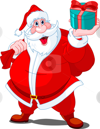 Santa Claus giving gift stock vector clipart, Santa Claus whis bag of gifts by Anna Vtlichkovsky
