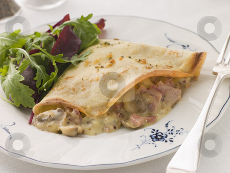 Savoury Pancake filled with Ham Cheese and Mushrooms with dresse stock photo,  by Monkey Business Images