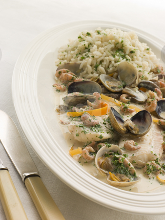 Dover Sole 'Normande' with Herb Rice stock photo,  by Monkey Business Images