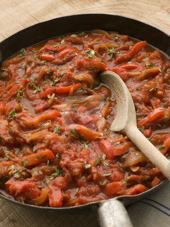 Piperade in a Saut Pan stock photo,  by Monkey Business Images