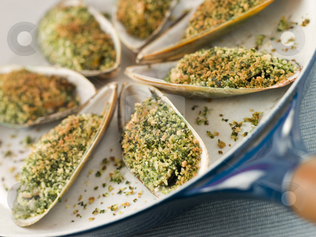 Green Lip Mussel with a Provencale Herb Crust stock photo,  by Monkey Business Images