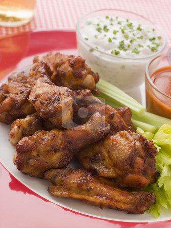 Spicy Buffalo Wings with Blue Cheese Dip Celery and Hot Chilli S stock photo,  by Monkey Business Images
