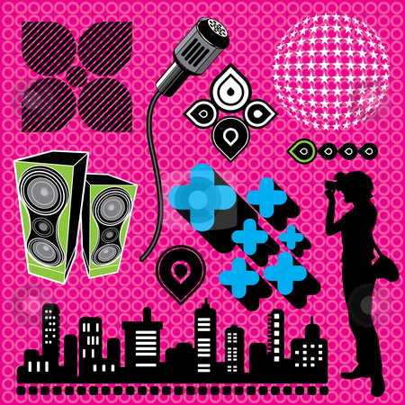 Photographer in urban scene stock vector clipart, Vector Illustration of urban and music design elements. by Anna Violet