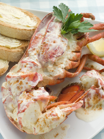 Lobster Newburg with Toast and Lemon stock photo,  by Monkey Business Images