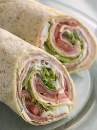 Deli Tortilla Wrap Cut in Half stock photo,  by Monkey Business Images
