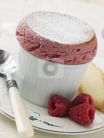 Hot Raspberry Souffle with Langue de Chat Biscuits stock photo,  by Monkey Business Images