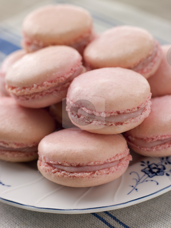 Plate of Raspberry Macaroons stock photo,  by Monkey Business Images