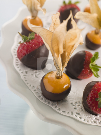Chocolate Dipped Fruits stock photo,  by Monkey Business Images