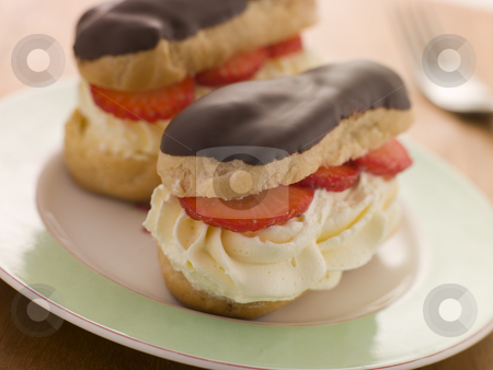 Chocolate and Strawberry filled eclairs