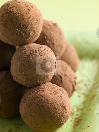 Chocolate Truffles on a plate stock photo,  by Monkey Business Images